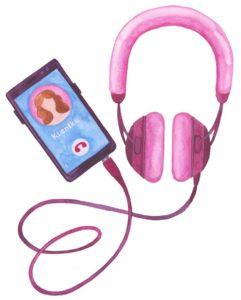 růžová sluchátka a telefonní hovor s klientkou
